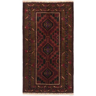 ecarpetgallery Hand-Knotted Finest Rizbaft Black Red Wool Rug (3'10 x 7'0)
