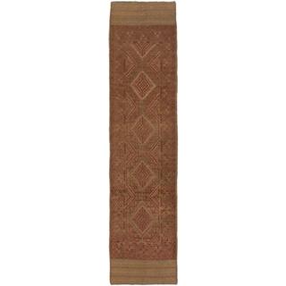 ecarpetgallery Hand-Knotted Tajik Caucasian Brown Wool Runner Rug (2'0 x 8'4)