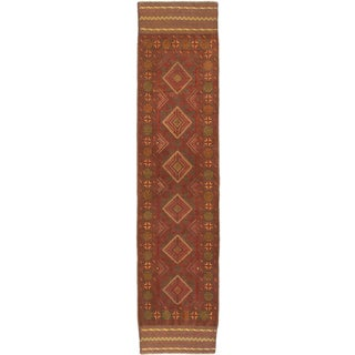 ecarpetgallery Hand-Knotted Tajik Caucasian Grey Orange Wool Rug (2'0 x 8'7)