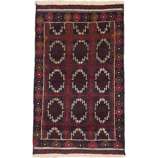 ecarpetgallery Hand-Knotted Bahor Brown Red Wool Rug (2'8 x 4'7)