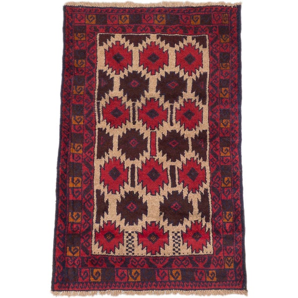 ecarpetgallery Hand-Knotted Bahor Ivory Red Wool Rug (2'10 x 4'4)