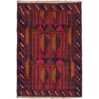 ecarpetgallery Hand-Knotted Bahor Red Wool Rug (3'1 x 4'4)