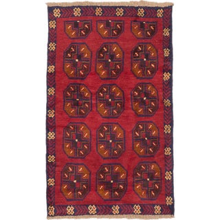 ecarpetgallery Hand-Knotted Bahor Red/ Brown Wool Rug (2'8 x 4'4)