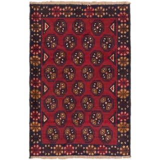 ecarpetgallery Hand-Knotted Bahor Red Wool Rug (3'0 x 4'6)