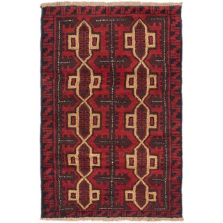 ecarpetgallery Hand-Knotted Bahor Red Wool Rug (2'10 x 4'4)