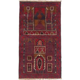 ecarpetgallery Hand-Knotted Baluch Blue Red Wool Rug (2'8 x 4'10)