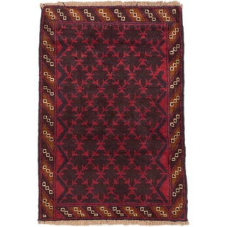 ecarpetgallery Hand-Knotted Herati Black Red Wool Rug (3'0 x 4'4)