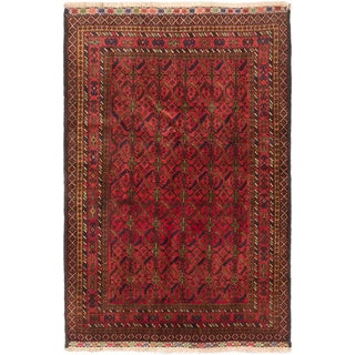 ecarpetgallery Hand-Knotted Finest Rizbaft Brown Red Wool Rug (4'1 x 6'0)