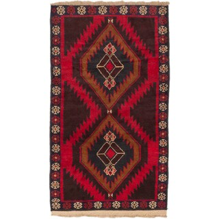 ecarpetgallery Hand-Knotted Kazak Red Wool Rug (2'11 x 5'2)
