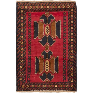 ecarpetgallery Hand-Knotted Bahor Red Wool Rug (3'0 x 4'2)