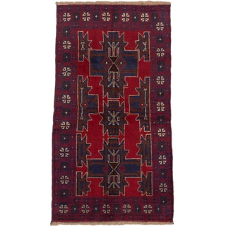 ecarpetgallery Hand-Knotted Kazak Blue Red Wool Rug (3'7 x 6'3)