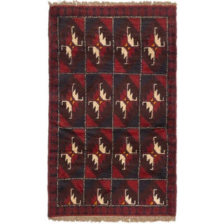 ecarpetgallery Hand-Knotted Bahor Blue Red Wool Rug (2'10 x 4'9)