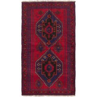 ecarpetgallery Hand-Knotted Kazak Red Wool Rug (3'7 x 6'0)
