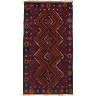 Hand-knotted Kazak Burgundy, Brown Wool Rug - 3'4 x 5'11