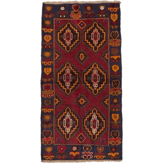 ecarpetgallery Hand-Knotted Bahor Blue Red Wool Rug (3'4 x 6'8)