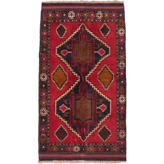 ecarpetgallery Hand-Knotted Kazak Blue Red Wool Rug (3'7 x 6'4)