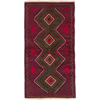 ecarpetgallery Hand-Knotted Kazak Blue Red Wool Rug (3'4 x 6'2)