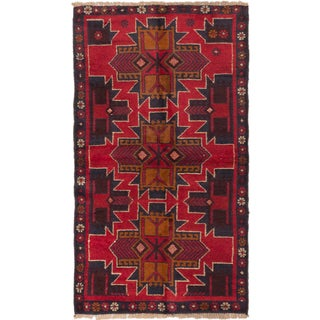 ecarpetgallery Hand-Knotted Kazak Red Wool Rug (3'4 x 5'10)