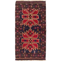ecarpetgallery Hand-Knotted Kazak Blue Red Wool Rug (3'5 x 6'7)