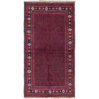 ecarpetgallery Hand-Knotted Herati Blue Red Wool Rug (3'2 x 6'2)