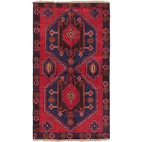 ecarpetgallery Hand-Knotted Kazak Blue Red Wool Rug (3'9 x 6'7)