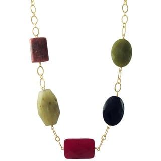 Luxiro Gold Finish Rhodonite, Chalcedony and Jade Semi-precious Gemstone Necklace