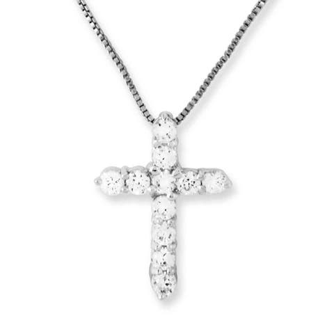 Versil Sterling Silver Cubic Zirconia Cross Pendant with 18-inch Chain