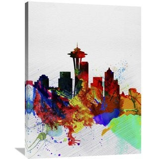 Naxart Studio 'Seattle Watercolor Skyline 2' Stretched Canvas Wall Art