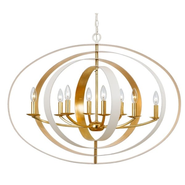 Crystorama Luna Collection 8-light Matte White/Antique Gold Chandelier - Crystorama Luna Collection 8-light Matte White/Antique Gold