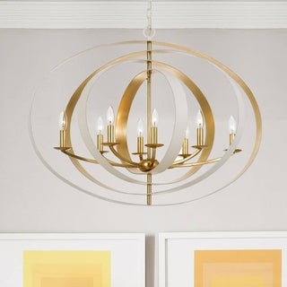 Crystorama Luna Collection 8-light Matte White/Antique Gold Chandelier