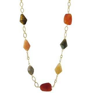 Luxiro Gold Finish Tiger Eye and Fancy Jasper Semi-precious Gemstone Necklace