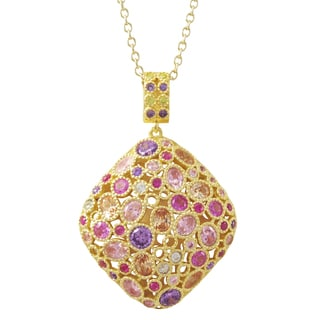 Luxiro Gold Finish Sterling Silver Cubic Zirconia Filigree Pillow Pendant Necklace