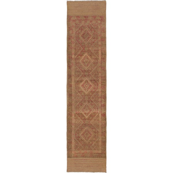 ecarpetgallery Hand-Knotted Tajik Caucasian Brown Orange Wool Rug (2'0 x 8'8)