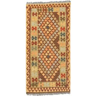 ecarpetgallery Hand-Woven Kashkoli Kilim Green Red Wool Kilim (3'2 x 6'8)