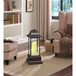 27-inch Portable LED Electric Flameless Candle Lantern with Quartz Infrared Heater for Indoor Use, Bronze