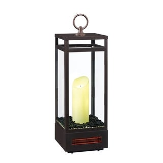29-inch Portable LED Electric Flameless Candle Lantern with Infrared Quartz Heater for Indoor Use, Bronze