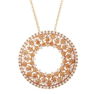 Luxiro Rose Gold Finish Sterling Silver Champagne Cubic Zirconia Circle Pendant Necklace