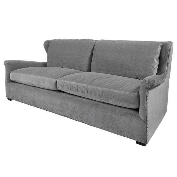 Shop Connor Grey Velvet Sofa Free Shipping Today