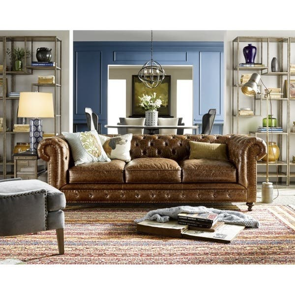 Wondrous Shop Berkley Leather Sofa Free Shipping Today Overstock Dailytribune Chair Design For Home Dailytribuneorg