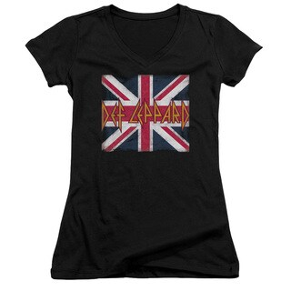 Def Leppard/Union Jack Junior V-Neck in Black