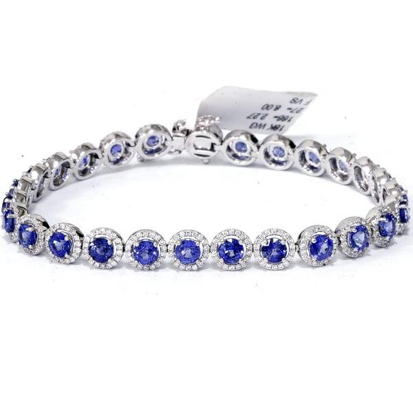 1a86785f743 Shop 18K White Gold 10 1 4 ct TW Blue Sapphire   Diamond Micro Pave ...