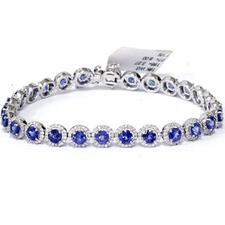 18K White Gold 10 1/4 ct TW Blue Sapphire & Diamond Micro Pave Halo Tennis Bracelet (F-G,VS1-VS2)