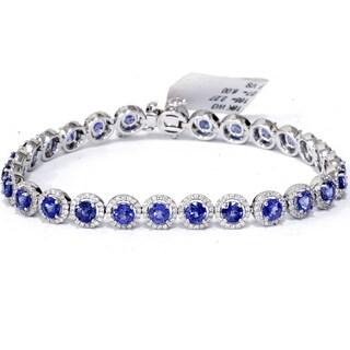 18K White Gold 10 1/4 ct TW Blue Sapphire & Diamond Micro Pave Halo Tennis Bracelet (F-G,VS1-VS2)