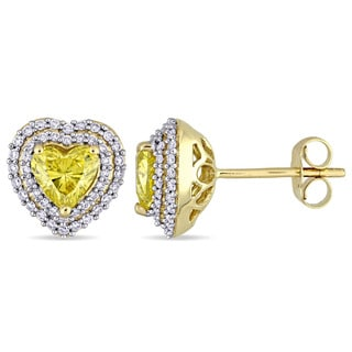 Miadora Signature Collection 14k Yellow Gold 1 3/8ct TDW Diamond Heart Halo Stud Earrings