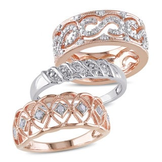 Miadora 2-Tone White and Rose Plated Sterling Silver 1/3ct TDW Vintage 3-Piece Anniversary Band Set (G-H, I2-I3)