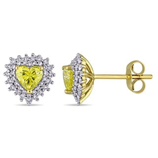 Miadora Signature Collection 14k Yellow Gold 1ct TDW Diamond Heart Halo Stud Earrings