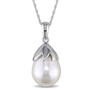 Miadora 9.5-10mm Freshwater Cultured Pearl Drop Necklace in 10k White Gold