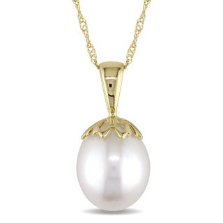 Miadora 9.5-10mm Freshwater Cultured Pearl Vintage Drop Necklace in 14k Yellow Gold