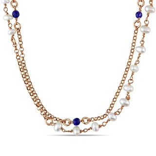 Miadora Sapphire and 3.5-4mm Imitation Pearl Station Double Tier Necklace in Rose Plated Sterling Silver