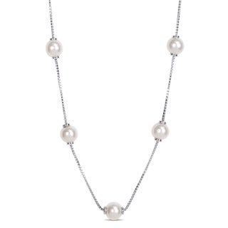 Miadora 8-8.5mm Freshwater Cultured Pearl Tin-Cup Necklace in Sterling Silver